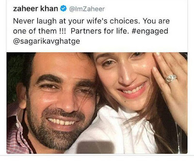 Zaheer Khan announce engagement on Twitter