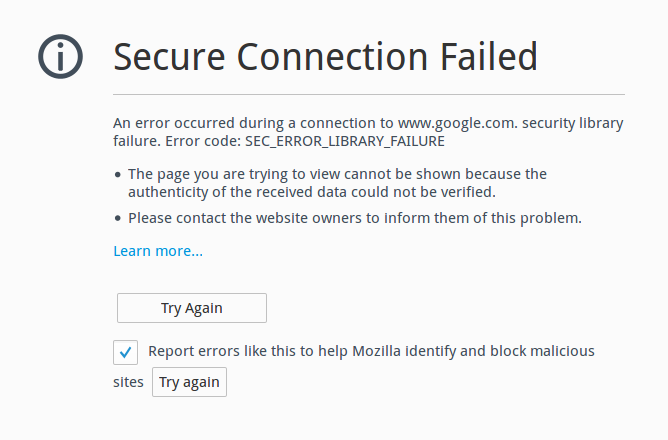How to fix Secure Connection Failed(An error occurred during