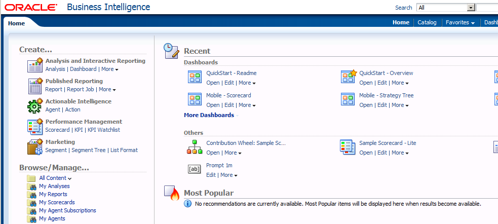 Paul Cannon's BI Blog: Replacing the Home page within OBIEE