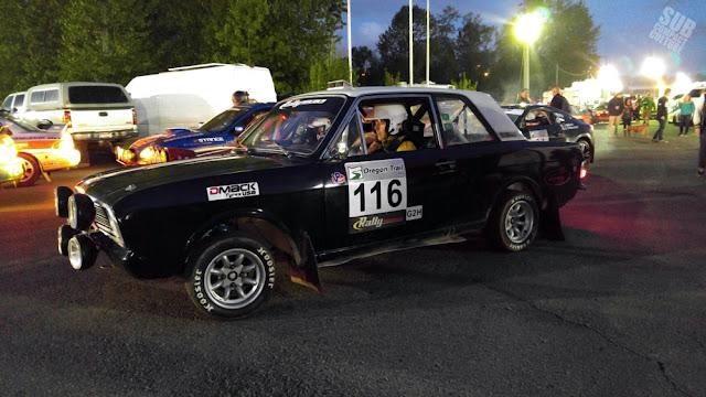 Ford Lotus Cortina rally car at night