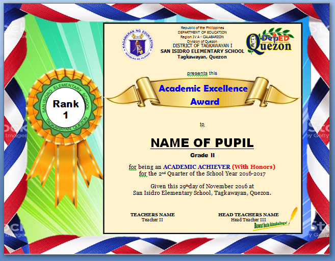 Procedure on ranking pupils excellence award certificate token screenshots yelopaper Gallery