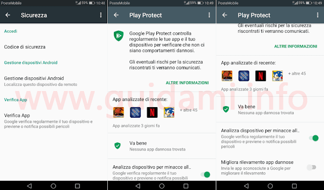 Google Play Protect su Android 7