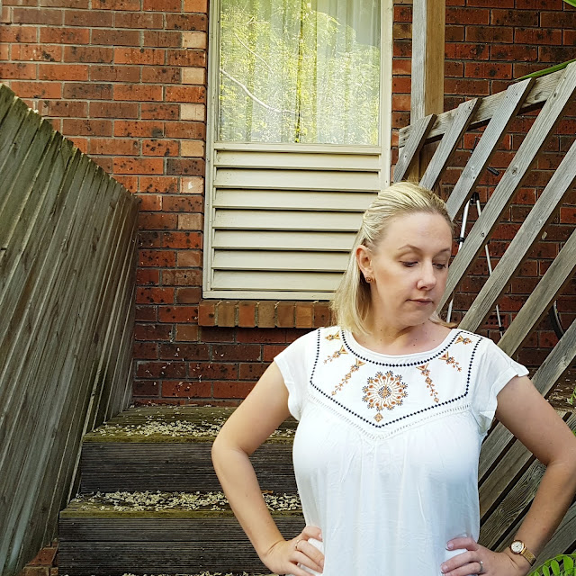Crossroads embroidered gypsy tee | Almost Posh