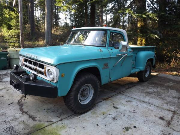 1969 dodge 200 power wagon 4x4 truck for sale 4x4 cars. Black Bedroom Furniture Sets. Home Design Ideas
