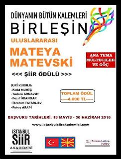 Uluslararası Mateya Matevski Şiir Ödülü 2016