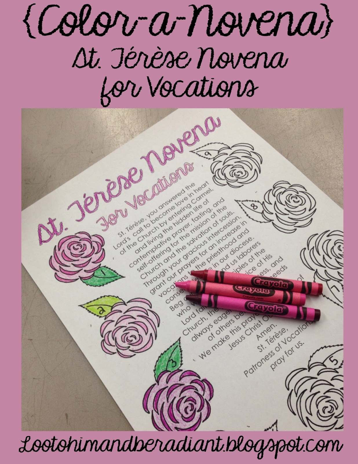 Look to Him and be Radiant: St. Terese Novena for Vocations {Color ...