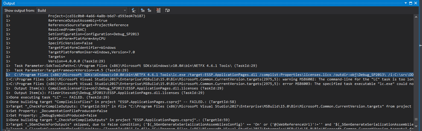 David Klein's Corner: Fix - Error in lc exe when Compiling