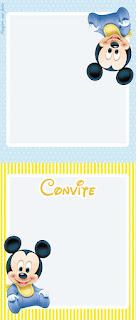 Para hacer invitaciones, tarjetas, marcos de fotos o etiquetas, para imprimir gratis de Mickey Bebé en Celeste y Amarillo.