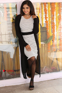 Telugu Actress Karunya Chowdary Stills in Black Dress at Soda Goli Soda Movie Opening  0145.JPG