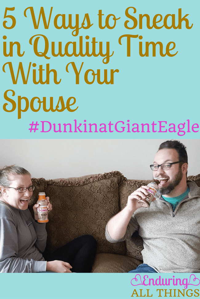 Quality time with your spouse is so important! Especially since your marriage is your most important relationship and everything else hinges on it. I've shared 5 ways to sneak that quality time in when you're busy! One way is breakfast dates! Dunkin' Donuts Iced coffee makes those dates easy!