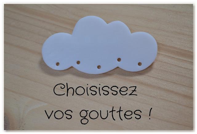 broche nuage à personnaliser avec des gouttes de la couleur de votre choix