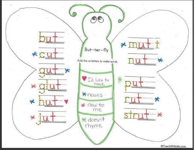 Number Names Worksheets butterfly trace : Classroom Freebies: Word Work With A Butterfly
