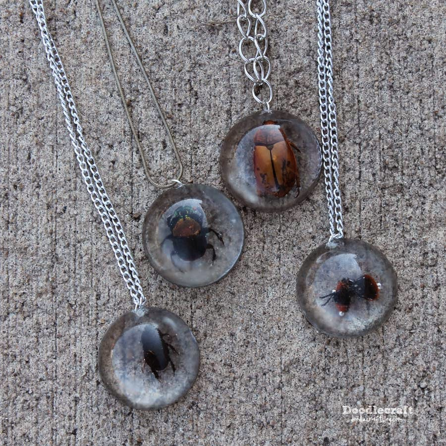 Doodlecraft Beetles In Resin Jewelry