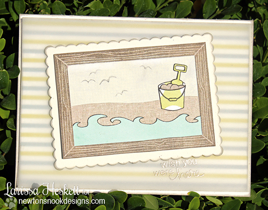 Framed Beach Card by Larissa Heskett for Newton's Nook Designs - Inky Paws Beach Challenge