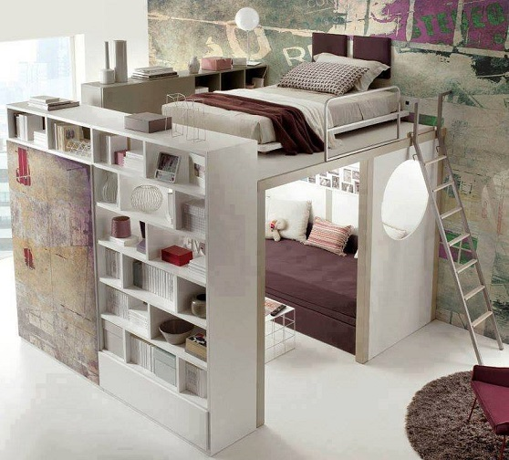 Another Solution For An Compact Bedroom That Takes Little Of The Available E Bed Is Placed Above A Mini Room With Couch Inside