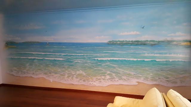 MAlowanie moża na ścianie w pokoju chłopca, pejzaż morski obraz 3D namalowany na ścianie