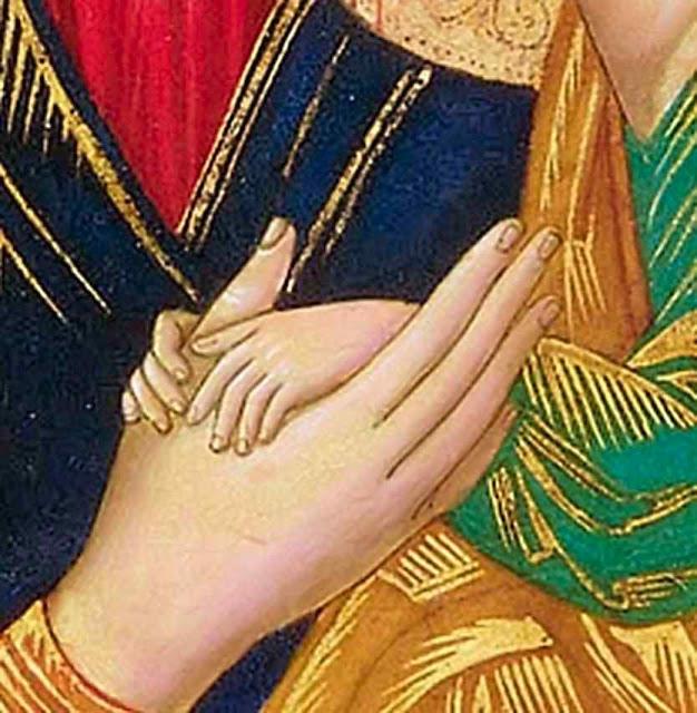 Menino Jesus segura as mãos de sua Mãe compreendendo a tremenda mensagem angélica