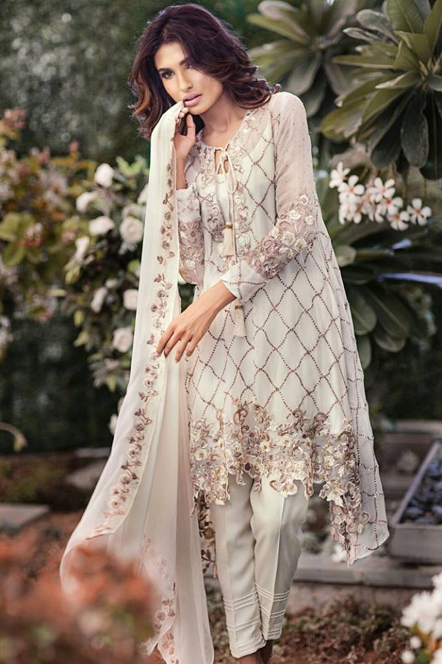 pakistani eid collection  mina hassan chiffon dresses for
