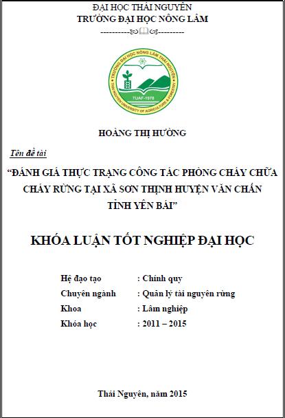Đánh giá thực trạng phòng cháy chữa cháy rừng tại xã Sơn Thịnh huyện Văn Chấn tỉnh Yên Bái