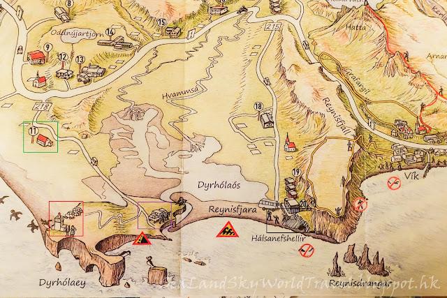 冰島, Iceland, Dyrhólaey, 黑沙灘 Reynisdrangar, map