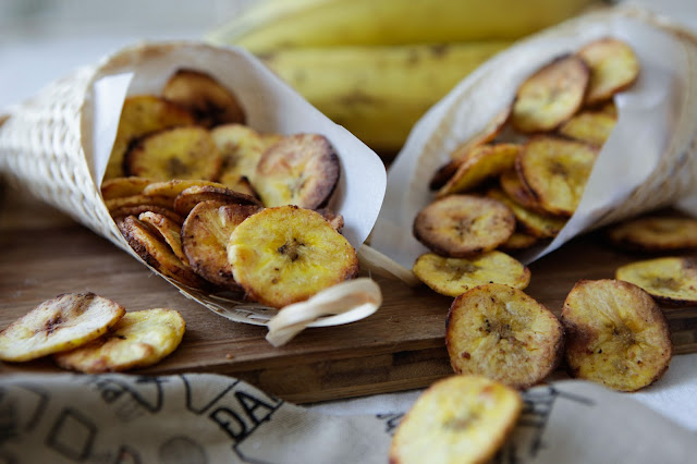 Baked Plantain Chips 3 Ways