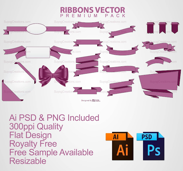 Ribbon Vectors AI and PSD