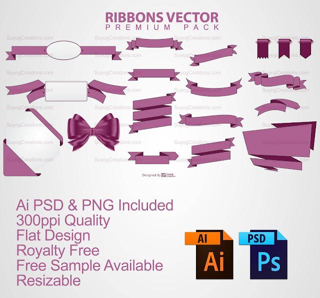 Ribbon Vectors AI and PSD