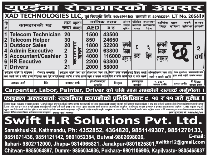 Jobs in UAE for Nepali, Salary Rs 1,16,000