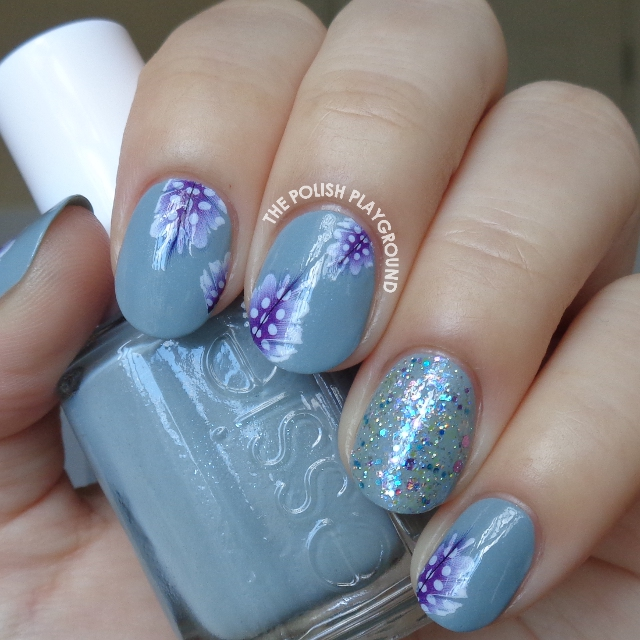 Blue Grey with Purple Feather Decals Nail Art
