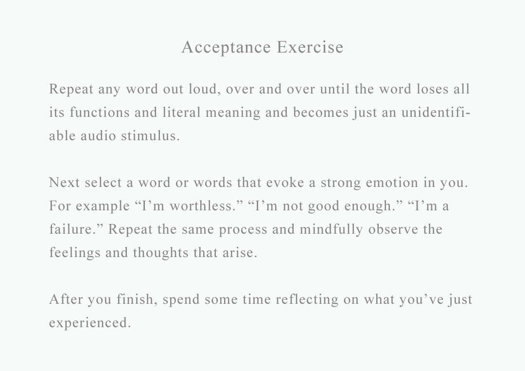 exercise on acceptance