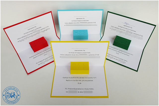 Zaproszenia Na Urodziny Czyli Klocki Lego Polskie Rękodzieło