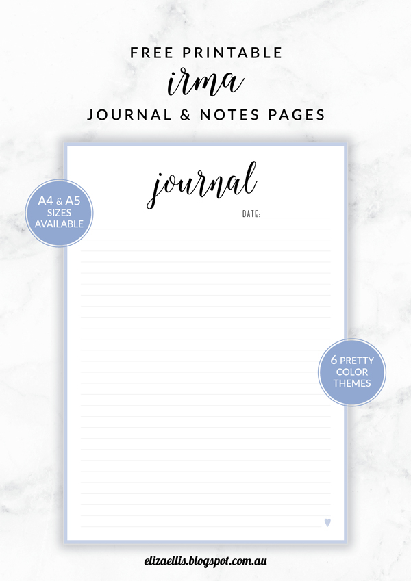 Free Printable Irma Journal and Notes Pages // Eliza Ellis. Includes lined and unlined versions as well as follower pages. Available in 6 colors and in both A4 and A5 sizes.