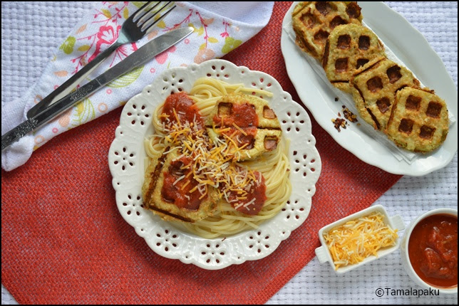 Waffled Eggplant with Spaghetti
