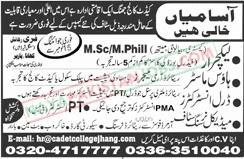 Latest Vacancies Announced in Cadet College Jhang 12 November 2018 - Naya Pakistan
