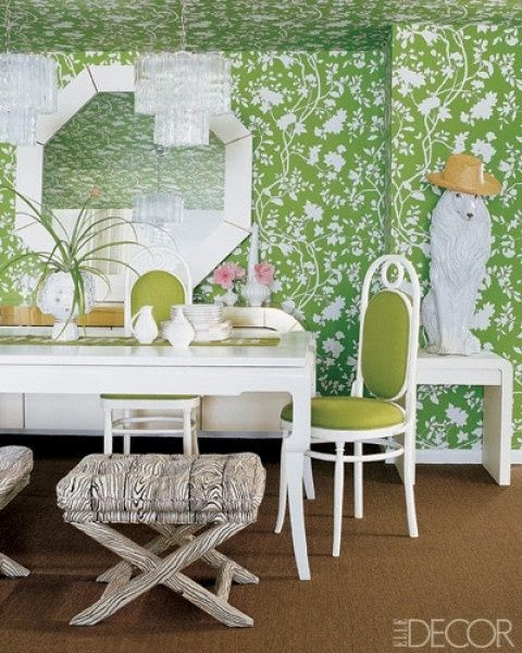Green Dining Rooms: Aesthetic Oiseau: Green Wallpaper Dining Room