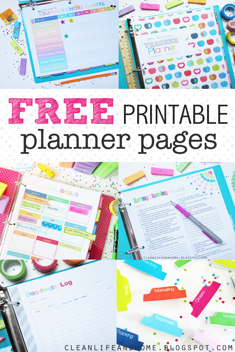 Clean life and home freebies for Home planner free