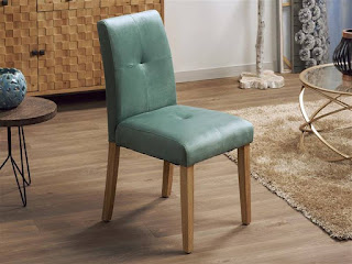 Silla salon comedor tapizada terciopelo verde turquesa
