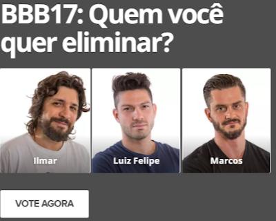 #BBB17: Foi formado o primeiro paredão triplo com Ilmar, Luiz Felipe e Marcos