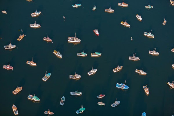 2.) Various lobster boats float lazily in the waters near Tremont, Maine, looking like a clothing pattern. - You Think You Know What The World Looks Like. Then You Look At It Like This And… WHOA. Amazing.