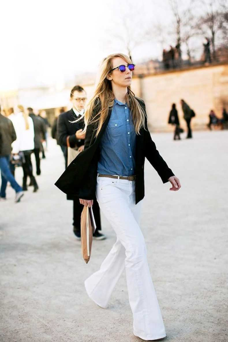 9 Ultra-Cool Ways to Wear Flared Jeans – Blazer, Button-Down, Street Style