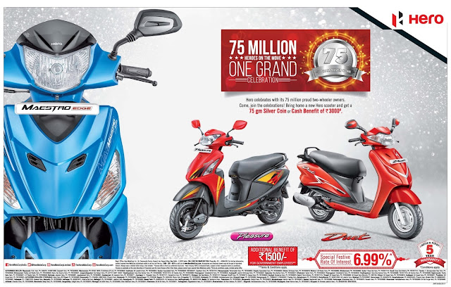 Hero scooters/bikes festival offers | September 2017 | cash benefits | Dassehra navaratri zero down payment