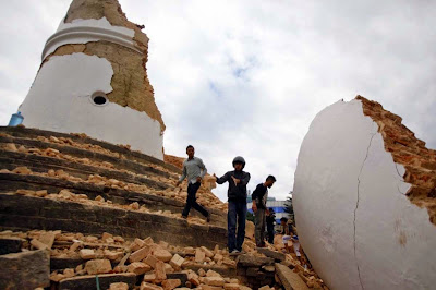 Earthquake damaged historic Dharahara Tower in Kathmandu, Nepal