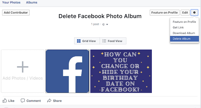 delete a Facebook photo album