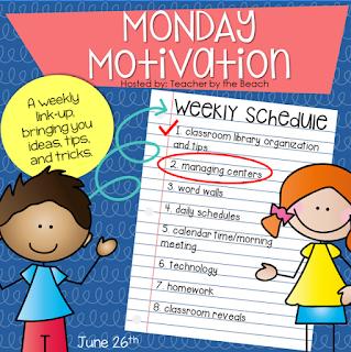 http://www.teacherbythebeach.com/2017/06/motivation-monday-managing-centers.html