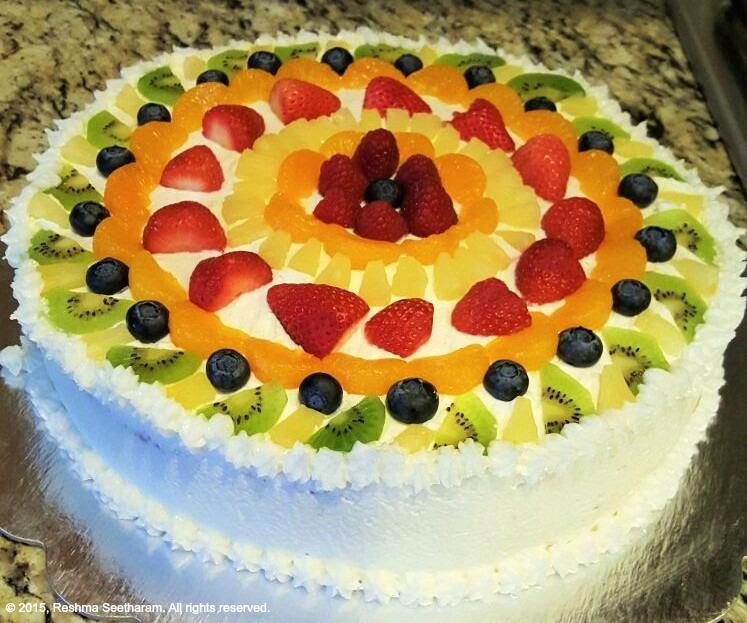 Whipped Cream And Fresh Fruit Sponge Cake