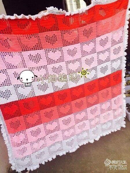 Facebook Crochet Patterns : ... TantiCuori con schema / Crochet baby blanket TuttiCuori, free pattern
