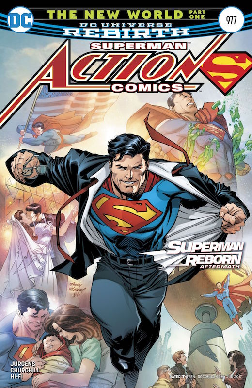 Action Comics #977 Story: Dan Jurgens Art: Ian Churchill Colors: Hi-Fi Letters: Rob Leigh Covers: Andy Kubert, Gary Frank, Brad Anderson  Superman created by Jerry Siegel and Joe Shuster.