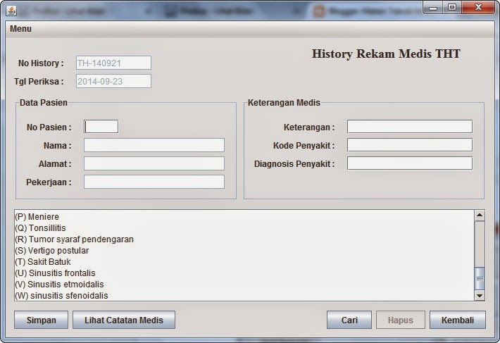 Program Sistem Pakar Diagnosis Penyakit THT Java Netbeans