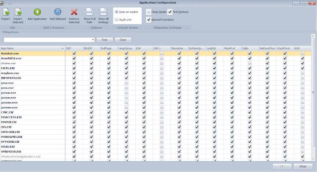 EMET, configurado con programas protegidos imageb