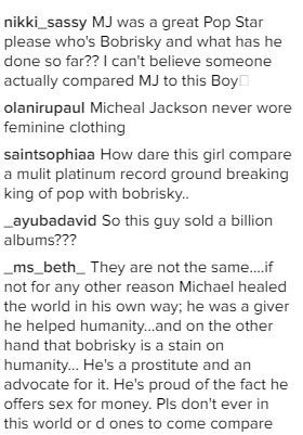 You dare compare king of pop with gay prostitute? People blast girl who compared Michael Jackson to Bobrisky
